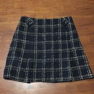 Nanette Lepore Black Tweed Plaid Skirt 10